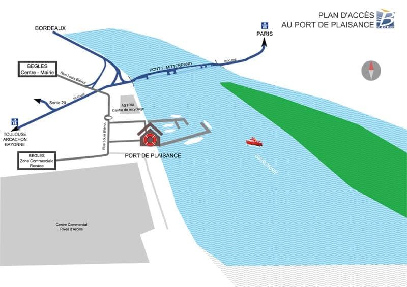 Plan d'accès au port Garonne de Bègles